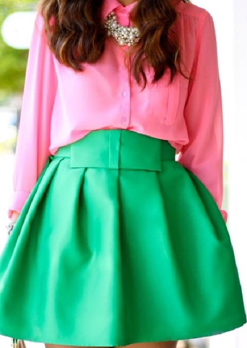 ترکیب رنگ سبز و صورتی